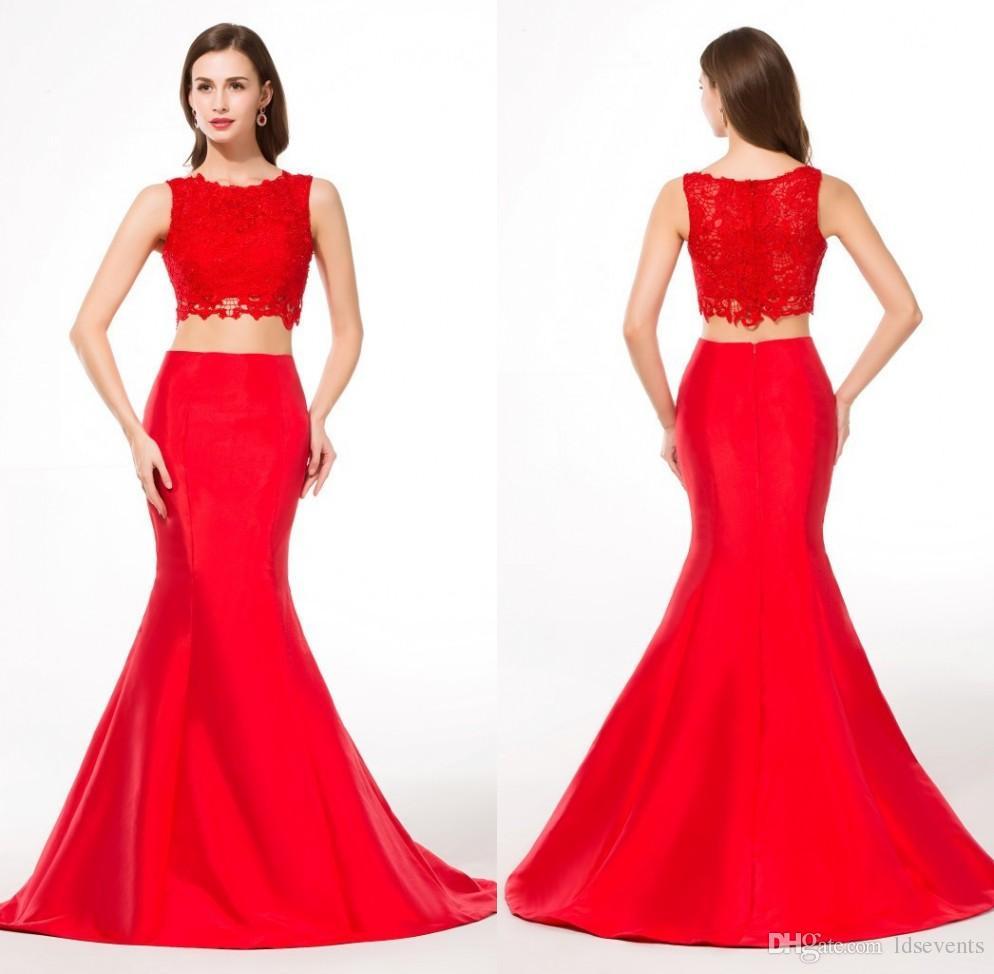 Compre 2 Piezas Vestidos De Noche Largo Color Rojo Trompeta Francés ...