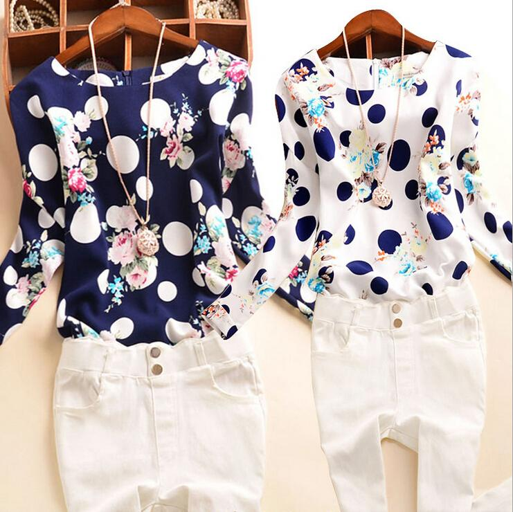 2016 Spring Fall New Fashion Floral Dot Print Chiffon Blouse Shirts Casual Elegant Womens Clothing Plus Size 4XL Tops Blouses for Women