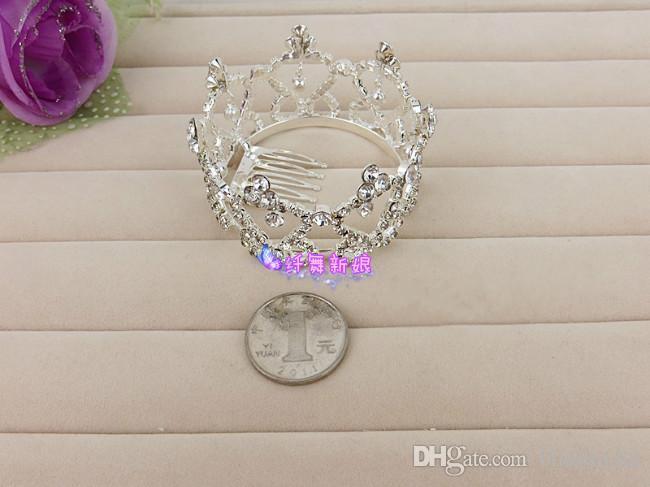 Mignon petite princesse mariée voile voile cristal couronnes cendrillon fille cheveux cheveux accessoires diaras la meilleure vente