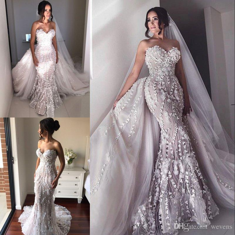 Modest Beaded Mermaid Wedding Dresses With Detachable Skirt Sweetheart Neck Lace Bridal Gowns 3D Appliqued Plus Size Vestidos De Nnovia