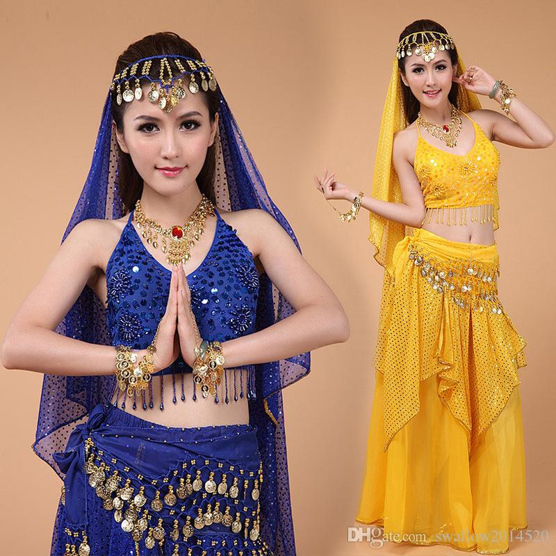 2018 2016 Hot New Egyptian Belly Dance Costume TopSkirtWaist ChainVeil WomenS Clothing Bellydance Professionals From Swallow2014520