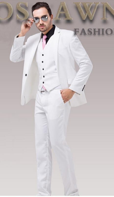 Men White Wedding Dress Suit Slim Groom Classic Suits Plus Size For Wear Men's Blazer three pieces jacket/Vest/Pants men formal suitsq127