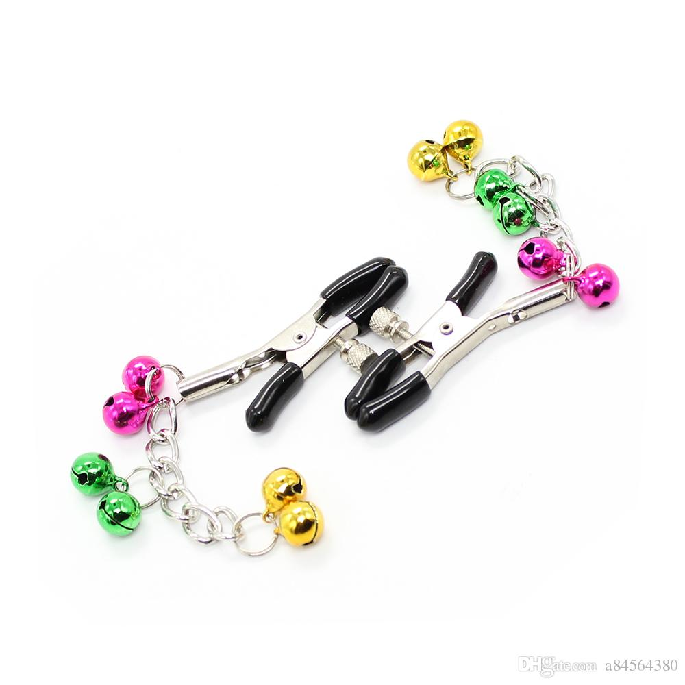 /Pair Breast Torture Nipple Clamps with 6 Bells Adult game Slave Fetish novelty Toy