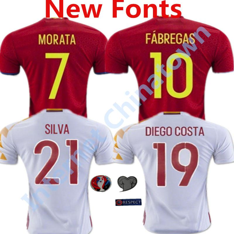 edc1d5f22 2019 2017 Spain Camisetas De Futbol Euro Cup Spain Soccer Jersey 16 17  Fabregas Iniesta Diego Costa Morata Casillas Goalkeeper Football Shirts  From Fans ...
