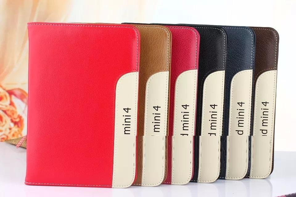 35PCS/LOT Luxury Ultra Slim Lambskin Wallet Cover For Apple ipad mini 4 Leather Case Covers Stand With Hand Holder Free Shipping