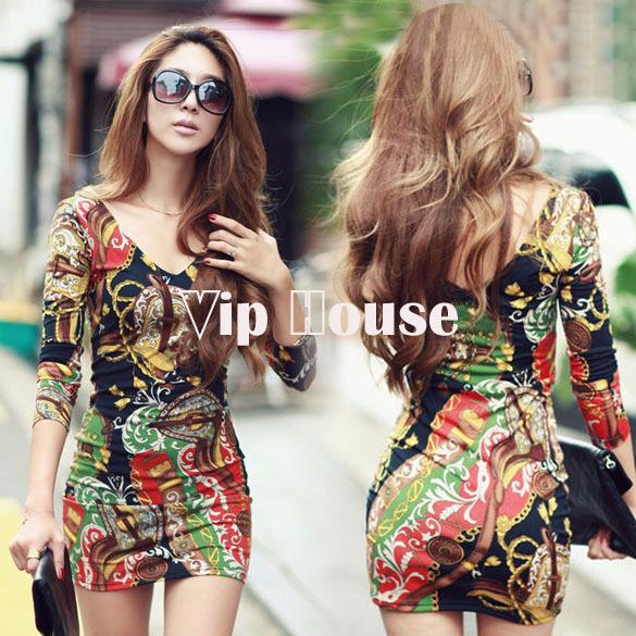2014 Sexy Plus Size Dress Print Floral Mini Bodycon Long Sleeve