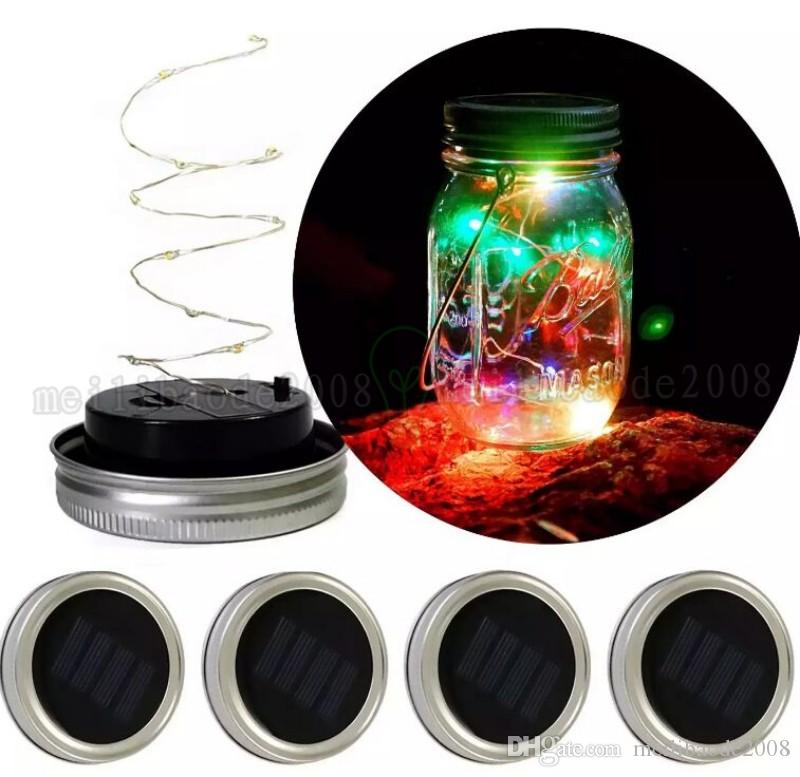 Noel led Güneş Enerjili LED Mason Kavanoz Işık Up Kapak 10 LED Dize Peri Yıldız Işıkları Mason Cam Kavanoz Noel Işıkları MYY için Kapaklı vida