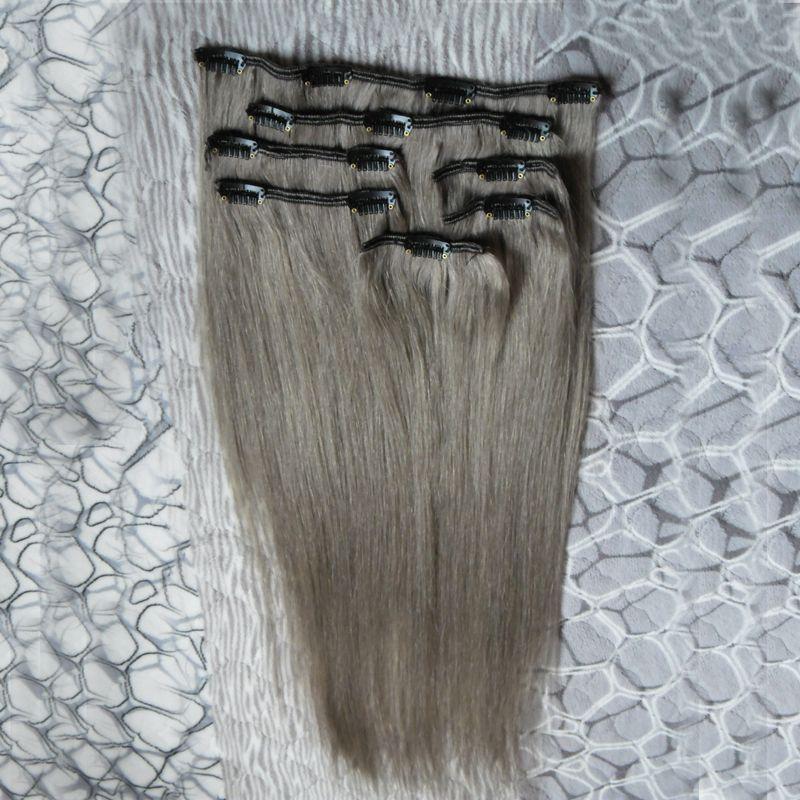 extensions de cheveux gris clip dans les extensions de cheveux humains 100g / extensions de cheveux humains gris directement