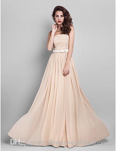 2016 New Cheap Custom Fabulous Free Shippping Champagne A-line Strapless Draping Bow Sash Floor-length Chiffon Bridesmaid Dress 106