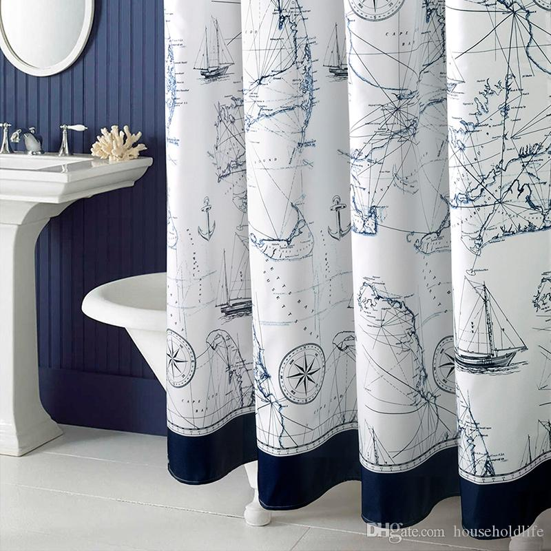 2018 Mediterranean Polyester Sailboat Shower Curtain Waterproof Mildew Thicken Home Bathroom Custom Made From Householdlife 3819