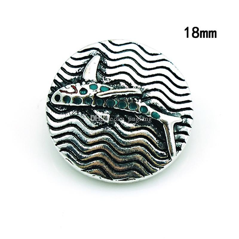 Moda Noosa 18mm Botões de Pressão 2 Cor Tubarão Liga Fecho de Gengibre Intercambiáveis DIY Pingente de Colar de Jóias Acessórios
