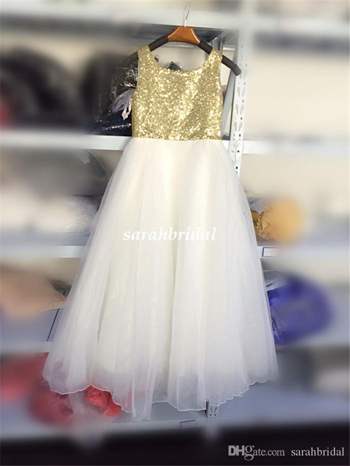 2016 Lovely Girls' Flower Pageant Dresses for Baby Kid Teens Cheap Ivory and Light Gold Shiny Sequin Bohemian Garden Tutu Wedding Party Gown