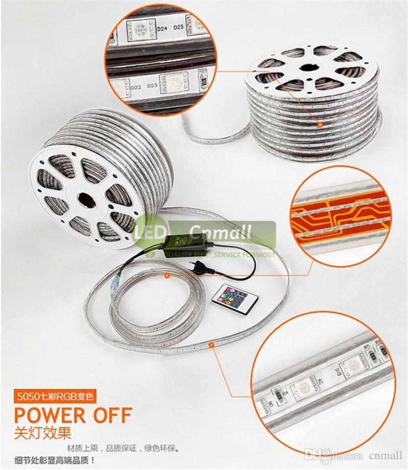 10M 15M 20M 25M 30M 110V 220V High Voltage SMD 5050 RGB Led Strips Lights Waterproof + IR Remote Control + Power Supply