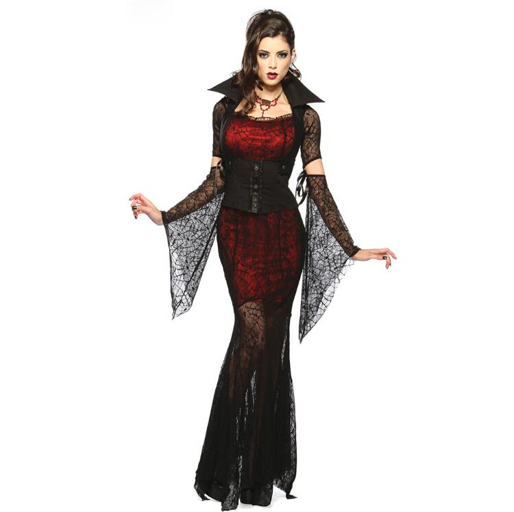 Red Black Gothic Sexy Costume Halloween Fantasy Cosplay Adult Fancy ... 725b136d3841