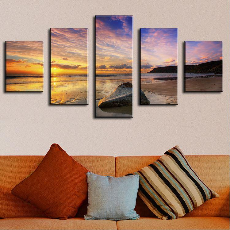5 Panel calm summer sunset abstract music oil painting Modern Home Wall Decor Canvas Picture Wall Painting abstract oil painting