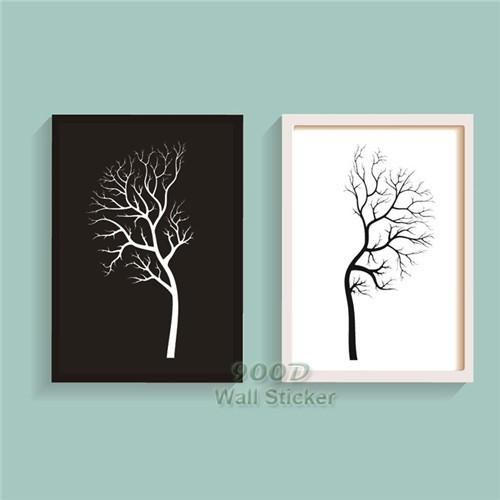 Black White Tree Canvas Painting Poster Wall Pictures For Living
