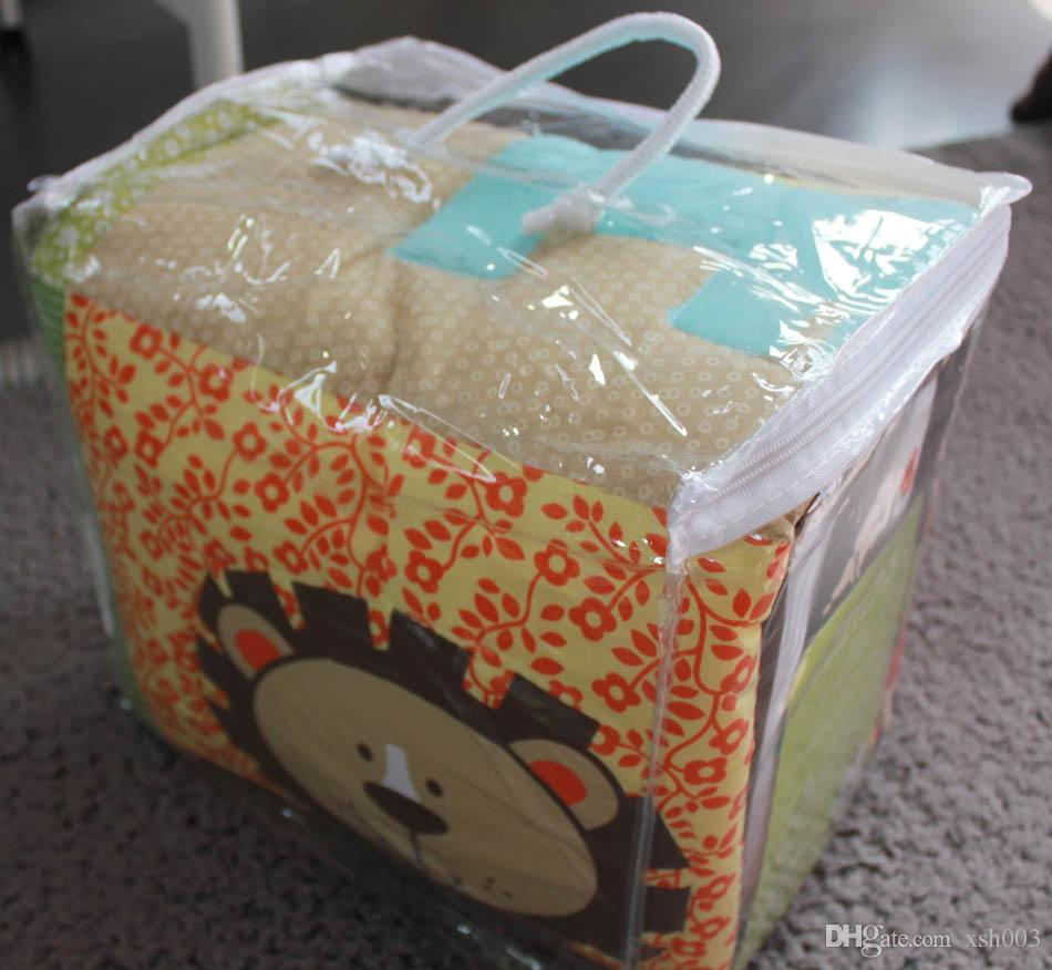 Embroidery 3D lion elephant deer tree Baby boy bedding set Crib bedding set Baby Quilt Bumper Fitted Sheet Cot bedding set