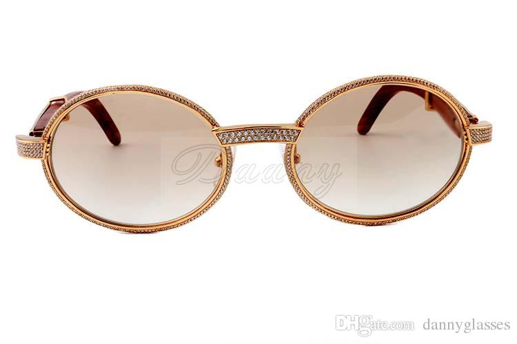 2019 nova madeira natural full frame de diamante óculos de 7.550.178 de alta qualidade óculos de sol todo o quadro é envolto em diamantes Tamanho: 55-22-135mm