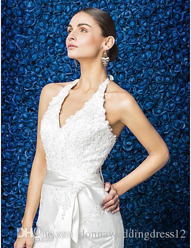 2016 New Fashion Popular Ivory Court Train Halter Sleeveless Appliques Lace Sheath Modern Wedding Dresses 186