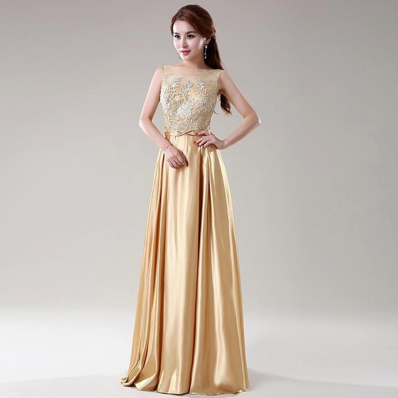 Gold Color Lace Top Satin A Line Long Bridesmaid Dresses ...