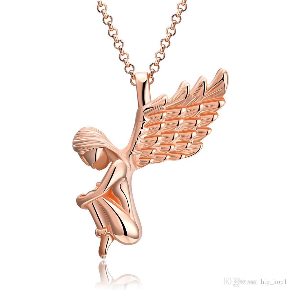 wings with folded angel in large gold pendant angelic bronze guardian tone products