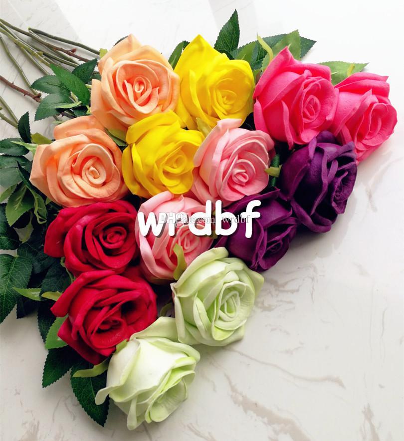 하나의 진짜 터치 로즈 가짜 꽃 PU 장미 핑크 / 레드 / 블루 / 그린 / 옐로우 60cm 웨딩 파티 인공 장식 꽃 7 색