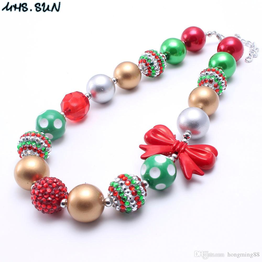 MHS.SUN New Design Christmas Baby Kid Chunky Necklace Best Gift Red Bow Bubblegume Bead Chunky Necklace Jewelry For Baby Kid Girl