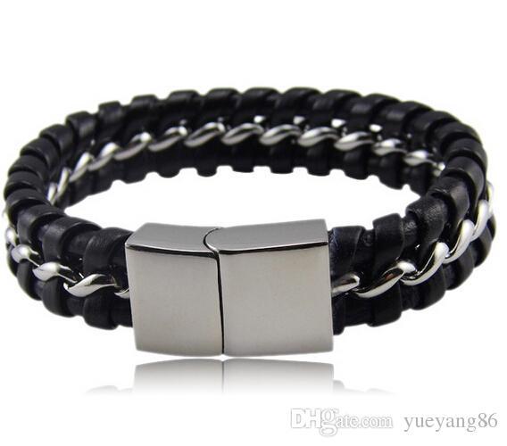 Moda 14 mm de alta calidad negro de cuero genuino de acero inoxidable pulsera hombres Brazalete de regalo