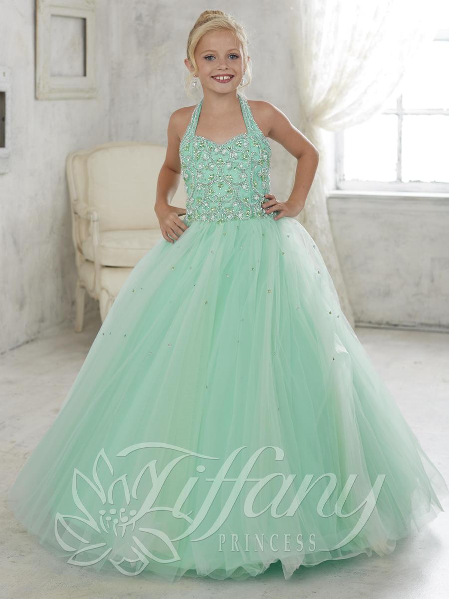 Lovely Green Girls Pageant Dress Halter Crystals Beaded Sleeveless ...