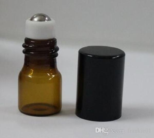 Mini 1 ml Marrón Ámbar Rollo de vidrio en aceite esencial Botella de perfume Bola de rodillo de cristal de acero inoxidable con plata dorada tapa al por mayor