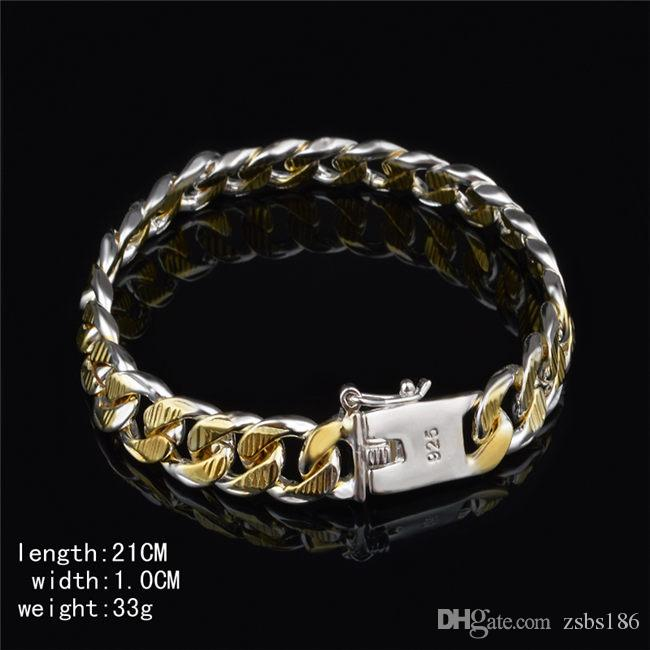 High quality 925 silver Figaro chain bracelet Golden 10MMX20CM fashion jewelry for men