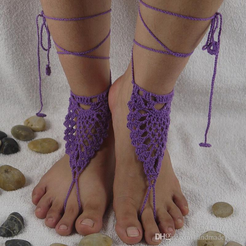 Victorian Lace pineapple flower Baby Blue Shoes Crochet Barefoot Sandals, Foot thongs, Beach Shoes, Sexy Wedding Accessory