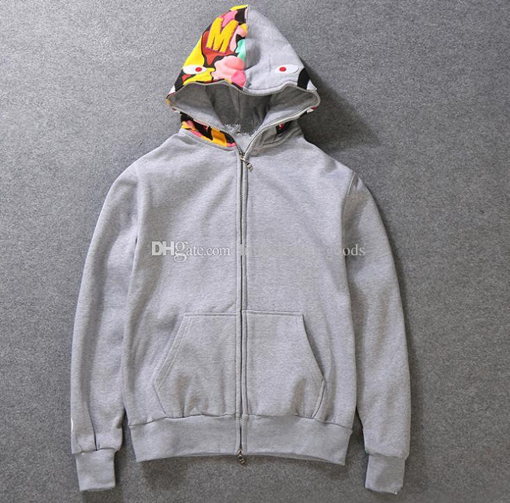 Yeni erkek giysileri hoodies ceket Gri kamuflaj Köpekbalığı baskı erkekler moda pamuk Kapşonlu Spor iç polar hoody sweatshirt