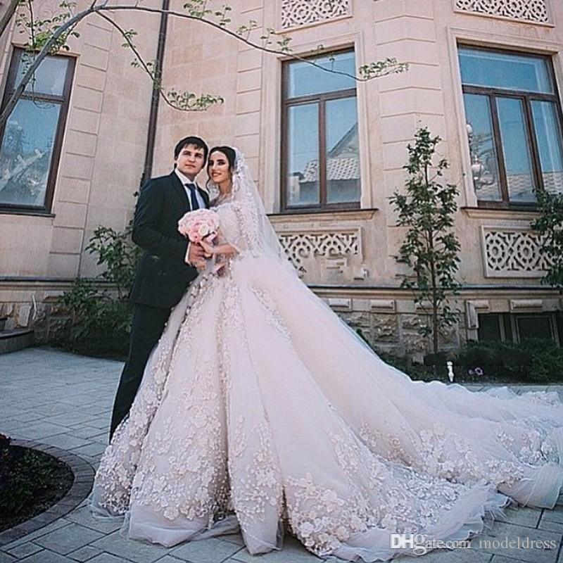 Long Sleeves Luxury Wedding Dresses 2019 Bateau 3D-Floral Appliques Cathedral Train Plus Size Muslim Bridal Gowns Vestidos De Noiva Custom