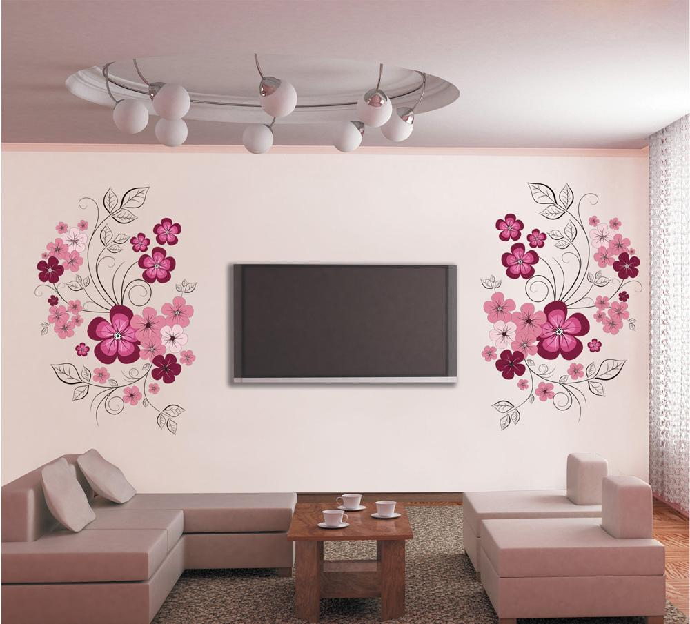 Pink Flower Blossom Wall Decal Sticker Tv Background Flower Tree Wall Art  Mural Poster Removable Living Room Bedroom Home Decoration Sticker Sticker  Wall ...