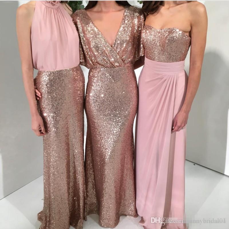 Shining Three Styles Una línea de vestidos de dama de honor con lentejuelas Oro rosa con sirena rosada Fiesta de boda personalizada 2017 Vestidos formales Dama de honor