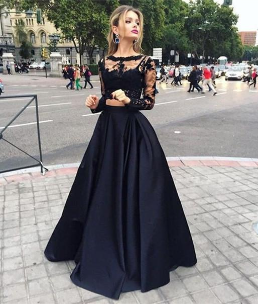 Long sleeve black lace dress teens