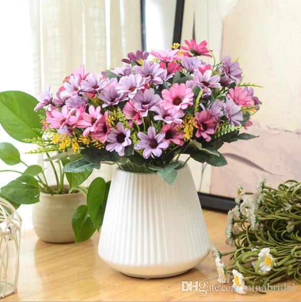 2018 Wholesale One Bouquet 5 Branch 15 Heads Cute Silk Daisy ...
