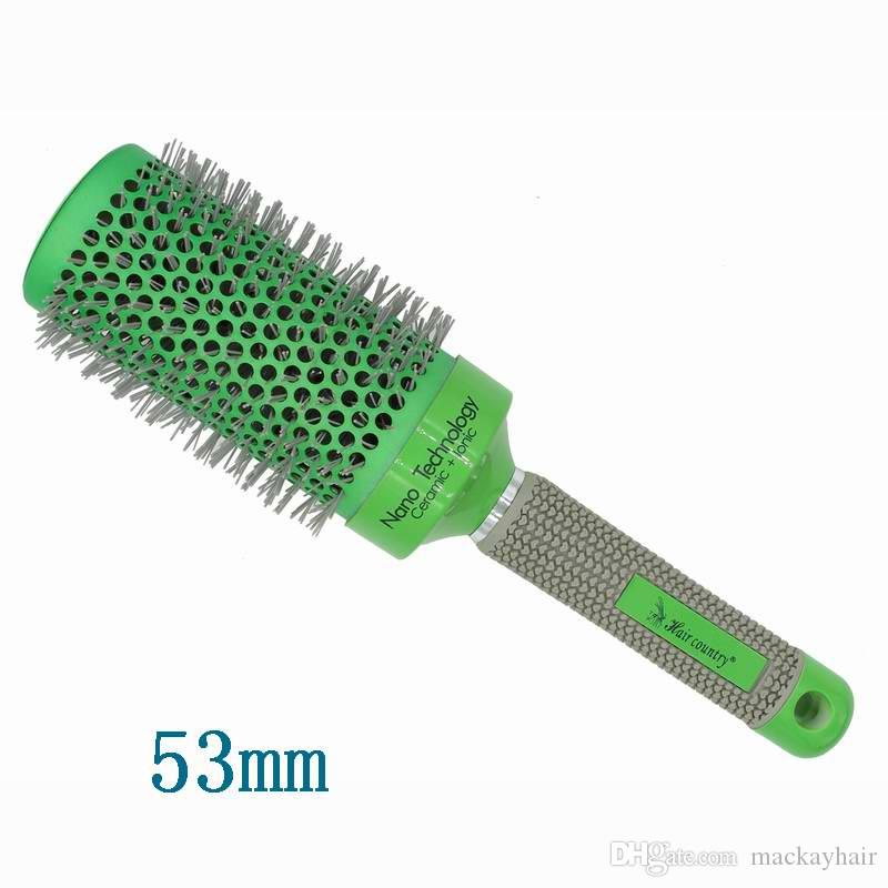 Nano Ceramic Hair Brush Sets Excellect Hair Salon Tools Round Green Color Change Heated Nylon PA66 5 different Size DHL Free