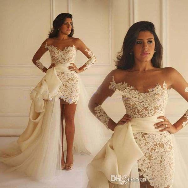 Real Photos 2017 Short Arabic Wedding Dresses Sheer Neck Applique Lace Long Sleeve Gowns Tulle Detachable Train Vestidos De Novia