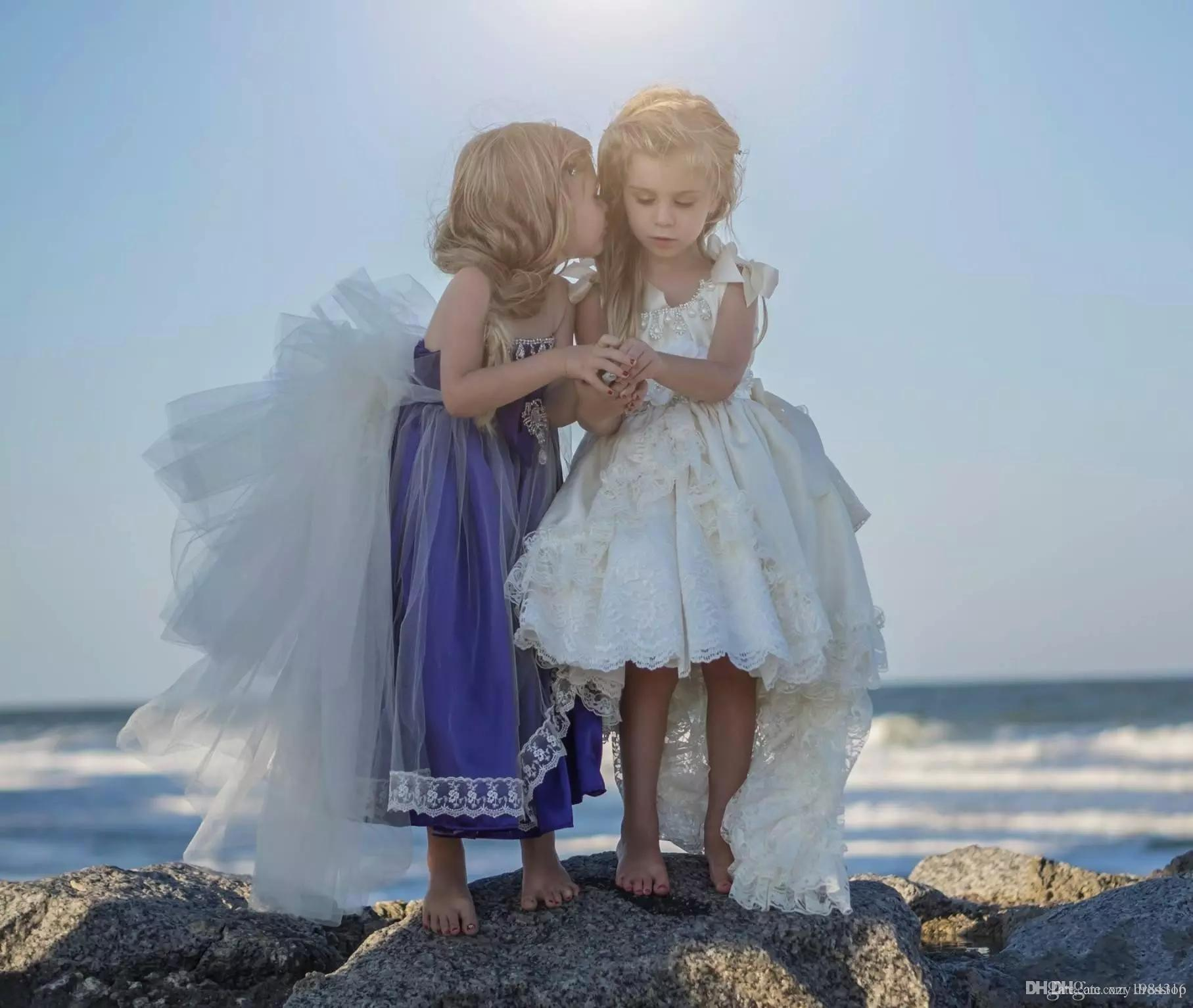Satin Lace Ivory Princess Pageant Dresses For Girls Ribbon Straps Beaded Crystals Flower Girls Dress High Low Boho Gown