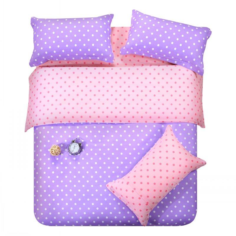 purple pink dots bedding set polka dot full queen size double doona quilt duvet cover cotton bed. Black Bedroom Furniture Sets. Home Design Ideas