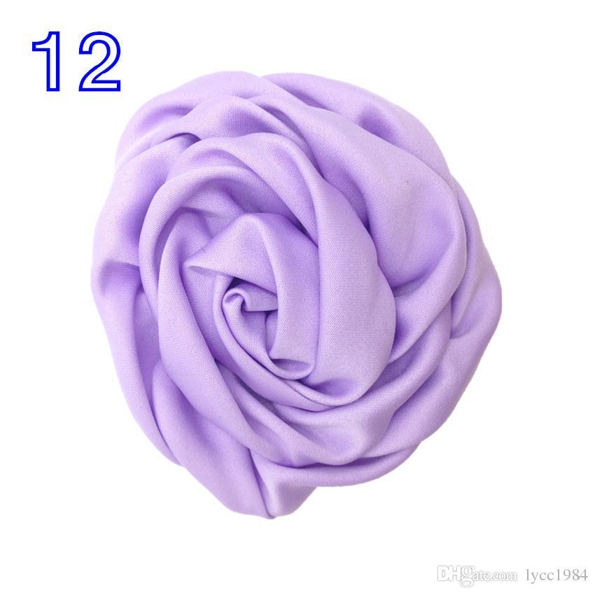Good Quality 8cm Handmade Rolled Satin Flower Large Rosette Fabric Buds Flat Back for DIY Headband Head wear Hair Accessory