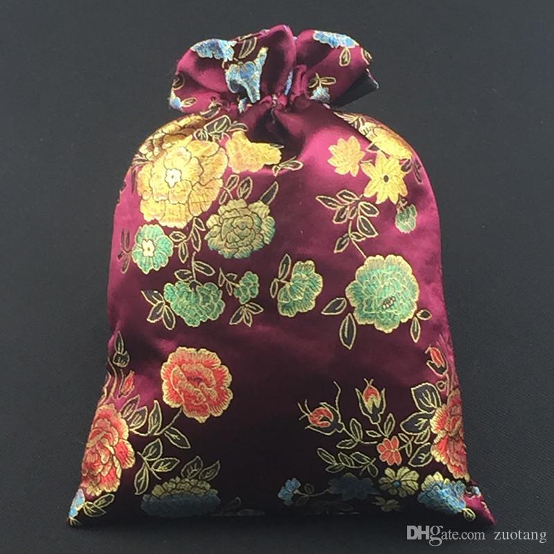 Reutilizável portátil jacquard seda brocado bolsa de sapato saco de viagem de armazenamento decorativo pacote de armazenamento protetora cordão sacos de embalagem de presente