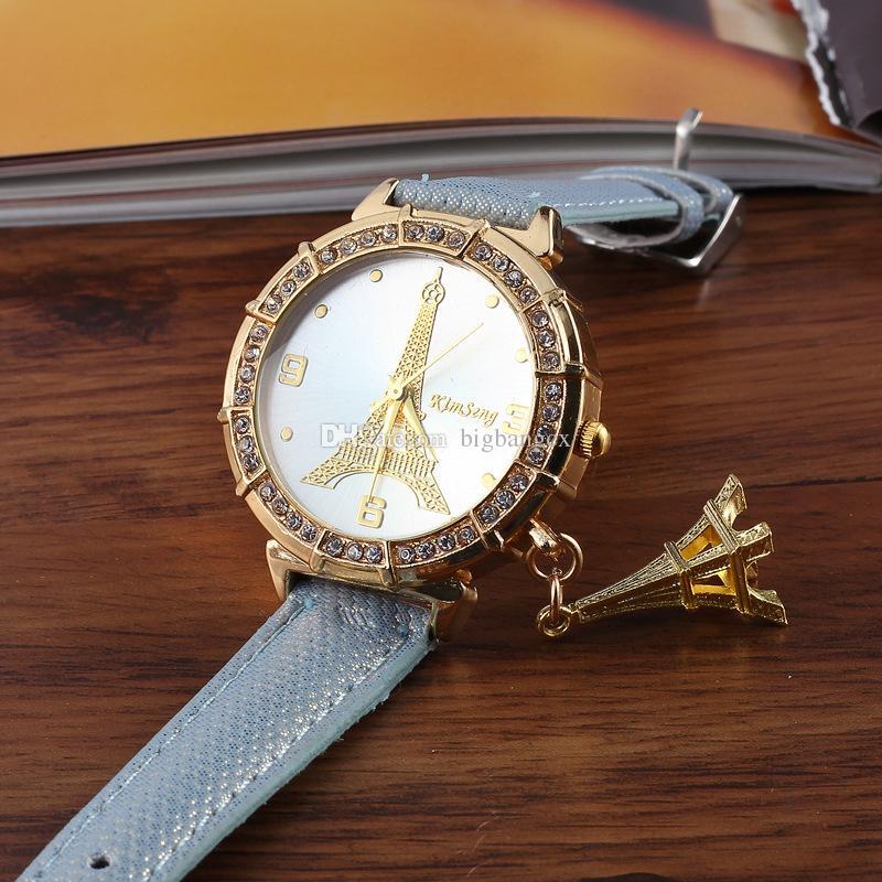 Della signora Dress Orologi di Lusso in pelle di diamante della Torre Eiffel a sospensione da polso di cristallo della Torre Eiffel donne orologio al quarzo