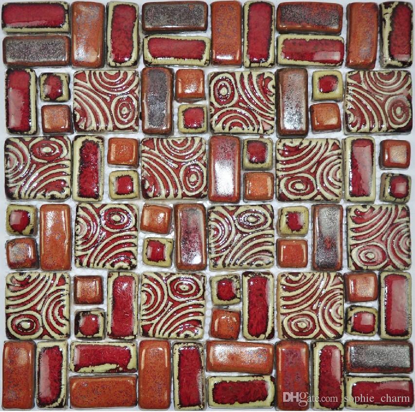 2019 Hand Craft Red Porcelain Mosaic Tiles Backsplash