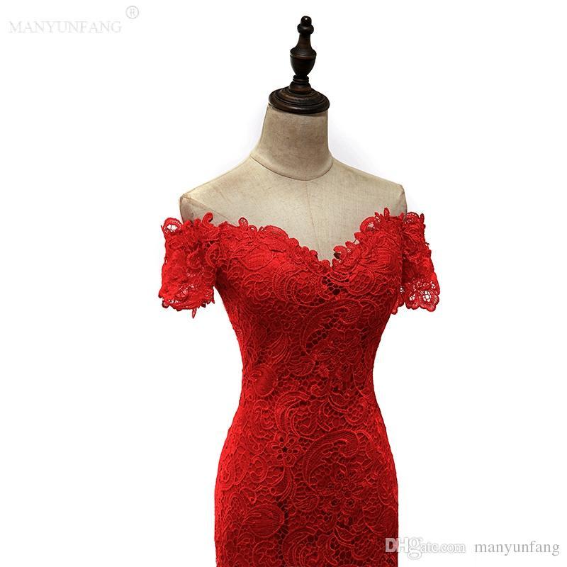 Short Sleeves Hot Red Mermaid Prom Dresses Long Formal Arabic Evening Dresses Deep Sweetheart Neck Backless 3 D Appliques vestidos de fiesta