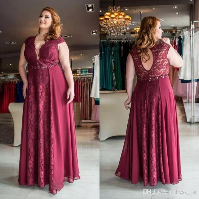 2018 Dark Red Lace And Chiffon Plus Size Prom Dresses Long V Neck