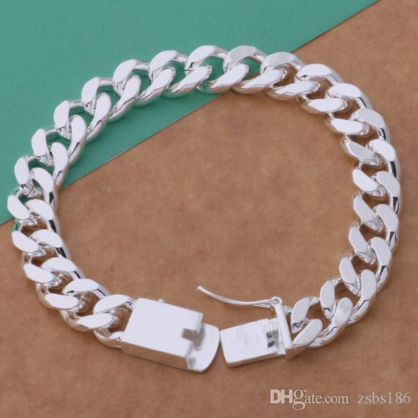 Fashion Men's Jewelry 925 sterling silver plated chain bracelet 10MMX20CM Classic cool party accessories Top quality