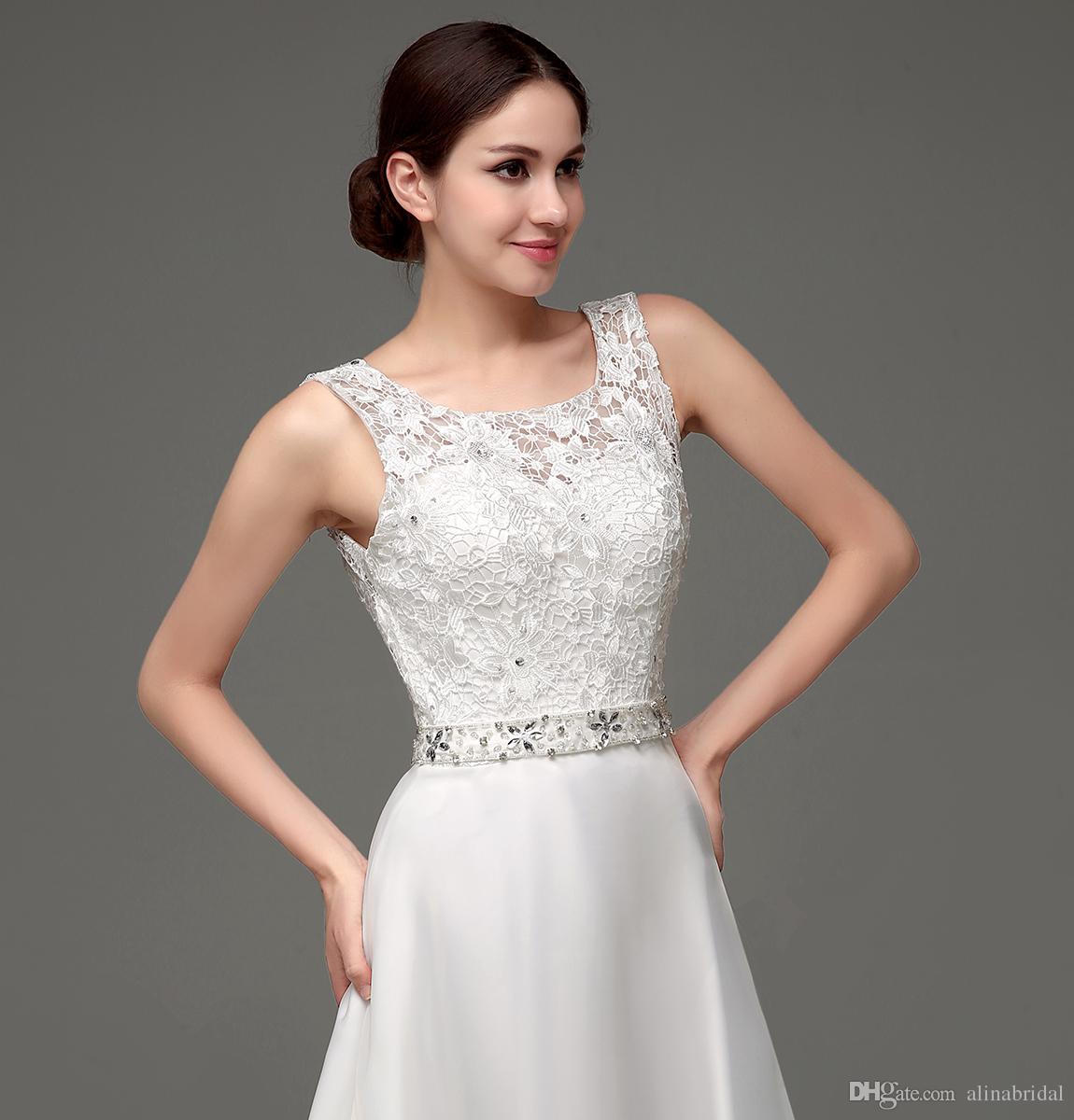 Stokta 2018 Ucuz Dantel Gelinlik Sheer Gelinlikler Scoop Boyun Çizgisi Düşük Aç Geri Boncuklu Organze Beyaz / Fildişi Plaj Gelin Elbise